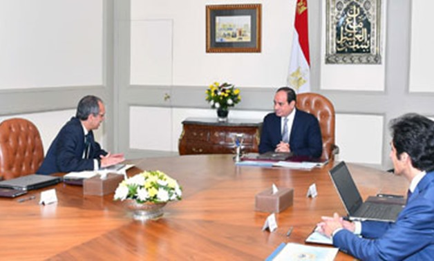 President Abdel Fatah el Sisi during meeting with Communications and Information Technology Minister Amr Talaat on Tuesday - Press Photo