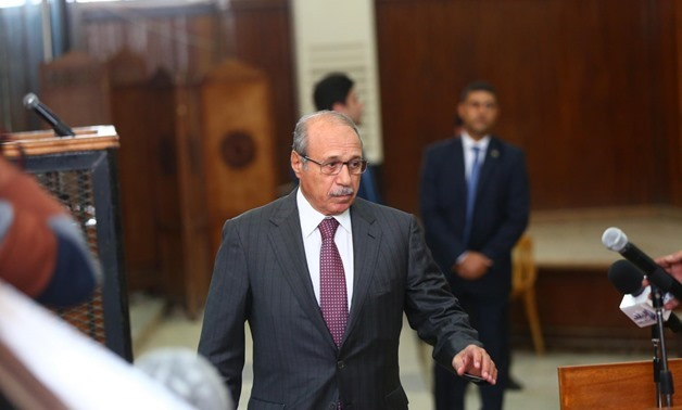 """Former Minister of Interior Habib al-Adly entering Cairo Criminal Court to testify in the lawsuit known as """"the illegal crossing of eastern borders,"""" October 28, 2018 - Egypt Today/Hussein Talal"""