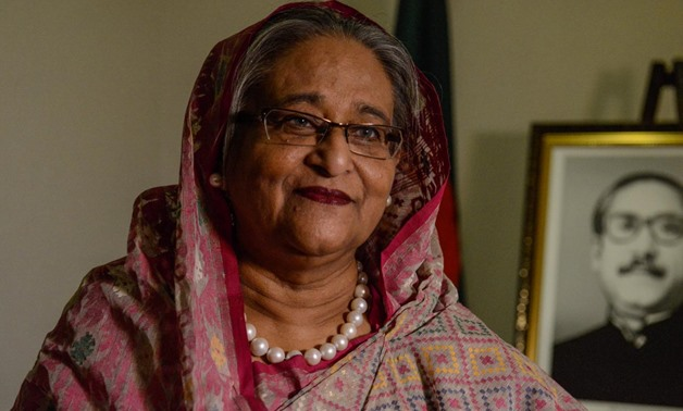 Bangladesh's Prime Minister Sheikh Hasina Wazed speaks with a reporter during the United Nations General Assembly in New York City, U.S. September 18, 2017.