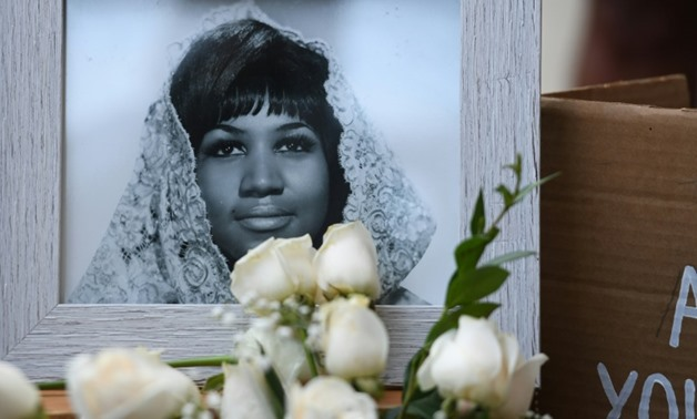 A photograph of American soul legend Aretha Franklin displayed after her death in August 2018, aged 76.
