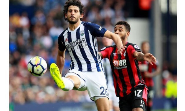 West Bromwich Albion's Ahmed Hegazy in action with Bournemouth's Joshua King Action – Images via Reuters/Jason Cairnduff