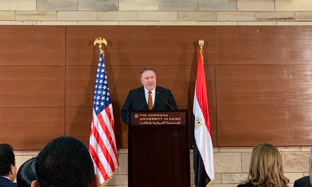 U.S. Secretary of State Mike Pompeo during the speech - Courtesy of the official AUC Twitter page