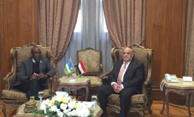 Rwandan Ambassador Saleh Habimana and Chairman of the Arab Organization for Industrialization (AOI) Abdel Moneim al-Taras in Cairo, Egypt. January 11, 2019.