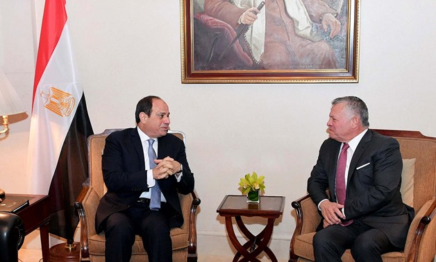 President Abdel Fatah al-Sisi (L) with Jordanian Monarch King Abdullah II (R) in Amman- Press photo