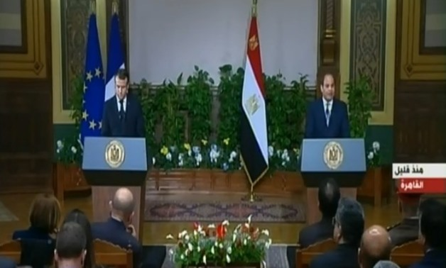 President Abdel Fatah al-Sisi and his French counterpart Emmanuel Macron in a press conference at Ittihadiya Castle in Cairo, Egypt. January 28, 2019. TV Screenshot