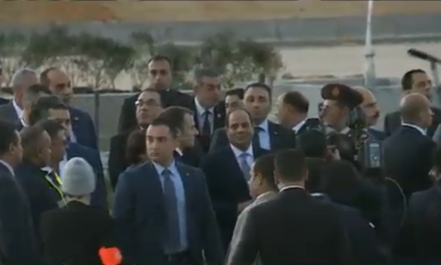 President Abdel Fatah al-Sisi and French counterpart Emmanuel Macron in a visit to the New Administrative Capital, Egypt. January 28, 2019. TV Screenshot