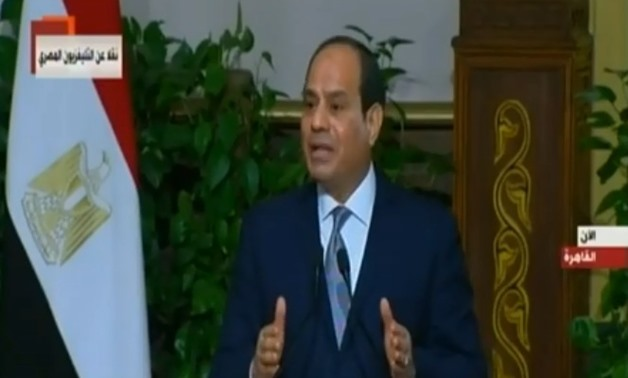 President Abdel Fatah al-Sisi in a press conference with his French counterpart Emmanuel Macron in a press conference at Ittihadiya Palace in Cairo, Egypt. 28 January 2019. TV Screenshot.