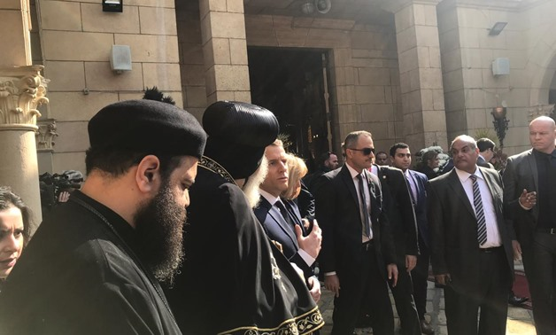 Pope Tawadros II of Alexandria and Patriarch of St. Mark Diocese received the French president and his wife at St Mark's Coptic Orthodox Cathedral in Cairo's Abbassiya district - Press Photo