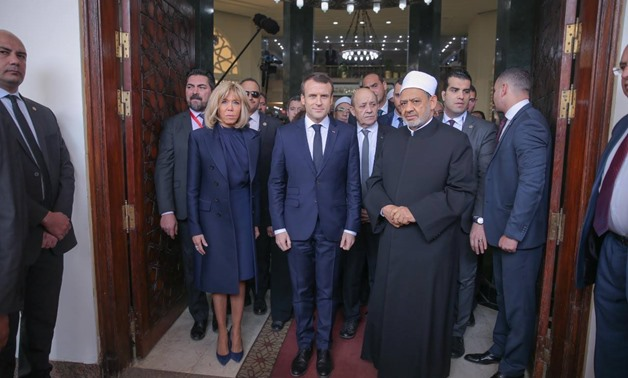 The Grand Imam and Al Azhar Sheikh Ahmed al-Tayeb received French President Emmanuel Macron, his wife and accompanying delegation in Cairo, Egypt. January 29, 2019. Press Photo