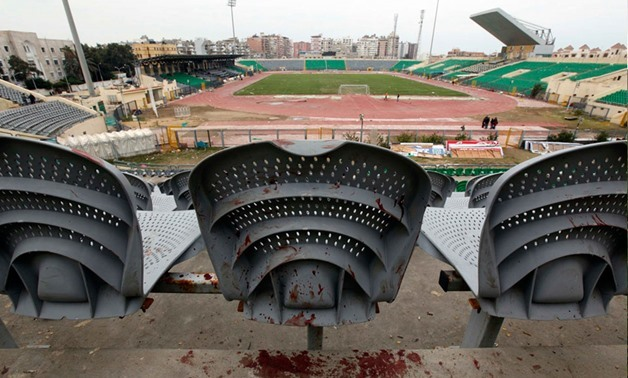Blood is seen on a chair one day after supporters clash at the Port Said stadium, February 1, 2012 — Reuters