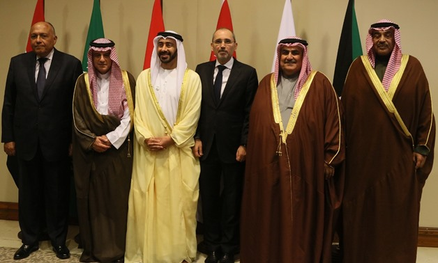 Foreign Ministers of Egypt, Jordan, Bahrain, the UAE, and Saudi Arabia  pose for a photo on January 31, 2019 in the King Hussein Bin Talal Convention- press photo