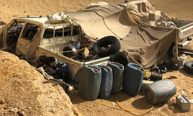 SUVs destroyed by army in western desert - press photo