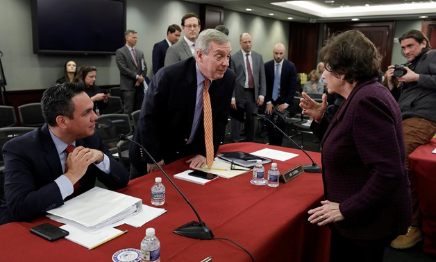 U.S. Rep Pete Aguilar (D-CA) and U.S. Senator Dick Durbin (D-IL) talk with House Appropriations Committee Chairwoman Nita Lowey (D-NY), serving as the Chairwoman of a bipartisan group of U.S. lawmakers from both the U.S. Senate and House of Representative