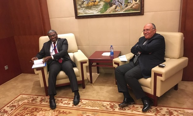 Gabon's Foreign Minister Abdu Razzaq Guy Kambogo (L) with Egyptian Foreign Minister Sameh Shoukry (R) on the sidelines of  the preparatory meetings of the 32nd African Union Summit in Addis Ababa on February 8, 2019- Press photo