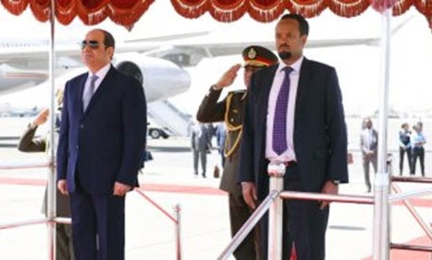 President Abdel Fatah al-Sisi and Ethiopian Prime Minister Abiy Ahmed in Addis Ababa. February 9, 2019. Press Photo