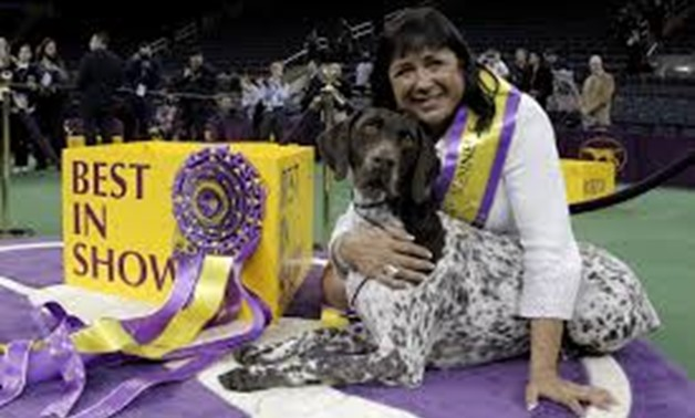 FILE PHOTO: Handler Valerie Nunez Atkinson poses with CJ, a German Shorthaired Pointer from the Sporting Group, after they won Best in Show at the Westminster Kennel Club Dog show at Madison Square Garden in New York, U.S., February 16, 2016. REUTERS/Bren