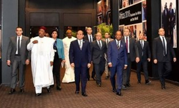 FILE - President Abdel Fatah al-Sisi and African heads of state in the Africa 2018 Forum in Sharm El Sheikh, Egypt.