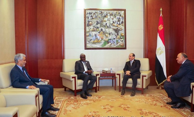 Egyptian President Abdel Fatah al Sisi meets Moussa Faki Mahamat, chairperson of the African Union Commission - press photo