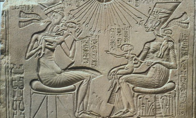 Love scene represents Akhenaten and his wife Nefertiti