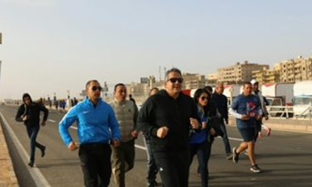 Minister of Antiquities Khaled Anany , the Minister of Tourism Rania Al-Mashat, Minister of Youth and Sports Ashraf Sobhy and Mostafa Waziri, the secretary-general of the Supreme Council of Antiquities participated in the Pyramids Marathon on Friday, Febr