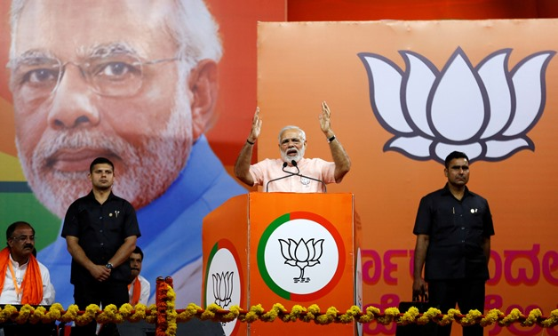 FILE PHOTO: India's Prime Minister Narendra Modi addresses an election campaign rally ahead of the Karnataka state assembly elections in Bengaluru, India, May 8, 2018. REUTERS/Abhishek N. Chinnappa