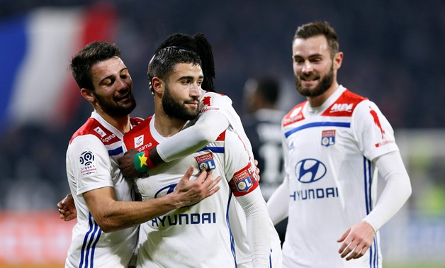 Soccer Football - Ligue 1 - Olympique Lyonnais v Guingamp - Groupama Stadium, Lyon, France - February 15, 2019 Lyon's Nabil Fekir celebrates scoring their second goal with team mates REUTERS/Emmanuel Foudrot