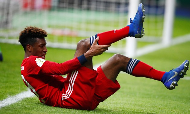 Soccer Football - DFB Cup - Third Round - Hertha BSC v Bayern Munich - Olympiastadion, Berlin, Germany - February 6, 2019 Bayern Munich's Kingsley Coman reacts after sustaining an injury REUTERS/Hannibal Hanschke DFB regulations prohibit any use of photog
