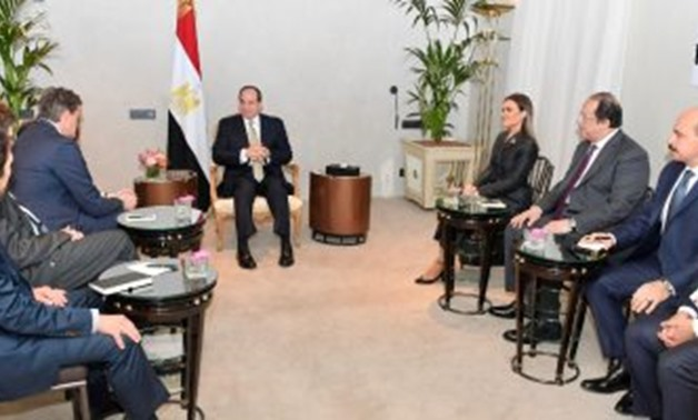 President Abdel Fatah al-Sisi in a meeting with Mercedes Benz executives in the German capital Berlin. February 17, 2019. Press Photo