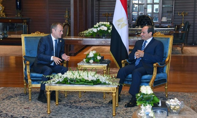President Abdel Fatah al-Sisi and President of the European Council Donald Tusk on the sidelines of the Arab-European Summit held in Sharm El Sheikh. February 24, 2019. Press Photo