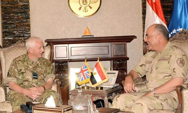 the Egyptian Armed Forces Mahmoud Hegazy  with the UK's Chief of Defense Intelligence Air Marshall Philip Osborn - File photo