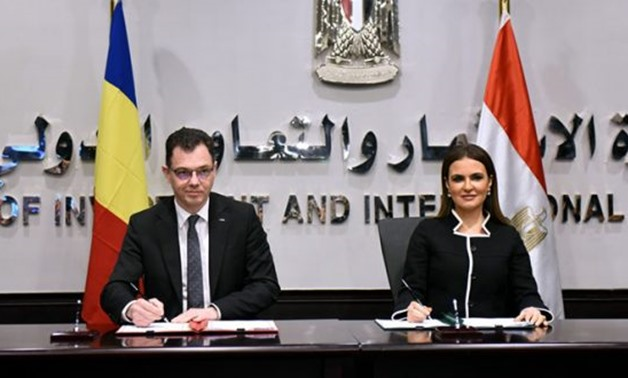 PRESS: (L) Romanian Minister of Business Environment, Trade and Entrepreneurship Ștefan-Radu Oprea, (R) Minister of Investment and International cooperation Sahar Nasr