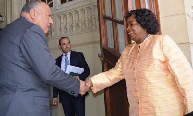 Minister of Foreign Affairs Sameh Shoukry met Sunday with his Kenyan counterpart Monica Goma - Press Photo