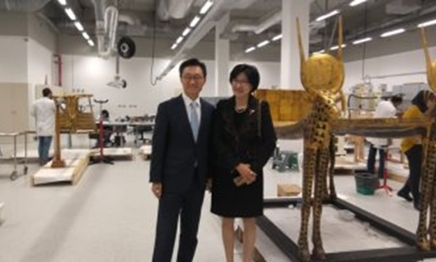 FILE - South Korean ambassador with his wife during the tours