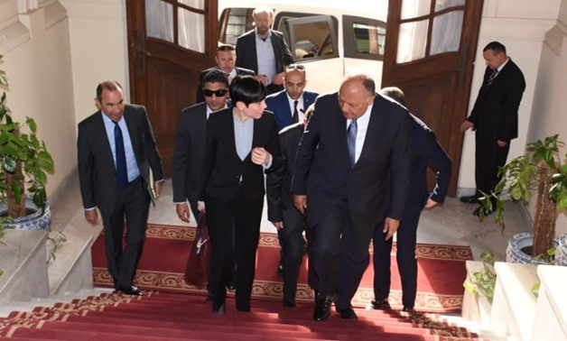 Egyptian Foreign Minister Sameh Shoukri (R) receives Norwegian Foreign Minister Ine Eriksen Søreide (L) in Cairo, March, 12, 2019 - Press photo