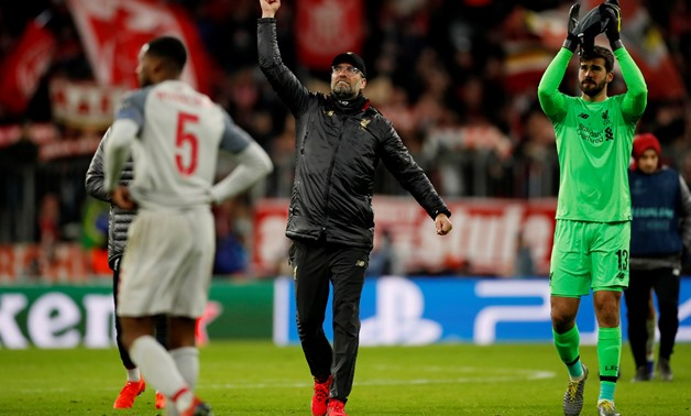 Soccer Football - Champions League - Round of 16 Second Leg - Bayern Munich v Liverpool - Allianz Arena, Munich, Germany - March 13, 2019 Liverpool manager Juergen Klopp celebrates at the end of the match Action Images via Reuters/Andrew Boyers