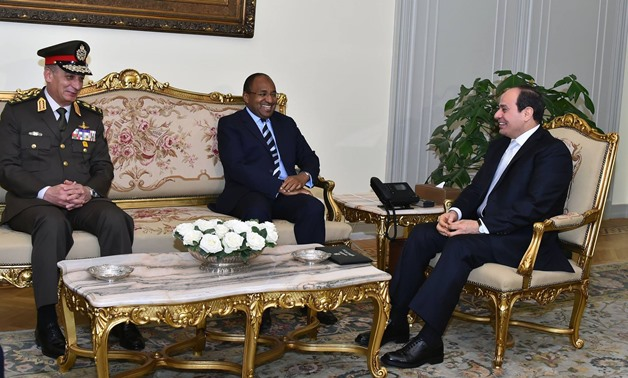 FILE - President Sisi meets with Tanzania's Minister for Defense and National Service Hussein Mwinyi, in the presence of Mohamed Zaki, Egyptian minister of defense, and Tanzania's ambassador to Egypt - press photo