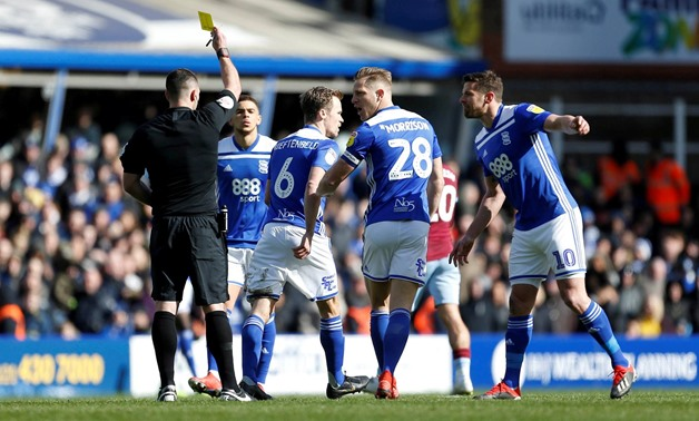 FILE PHOTO: Soccer Football - Championship - Birmingham City v Aston Villa - St Andrew's, Birmingham, Britain - March 10, 2019 Birmingham City's Maikel Kieftenbeld receives a yellow card Action Images/Craig Brough