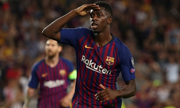 FILE PHOTO: Soccer Football - Champions League - Group Stage - Group B - FC Barcelona v PSV Eindhoven - Camp Nou, Barcelona, Spain - September 18, 2018 Barcelona's Ousmane Dembele celebrates scoring their second goal REUTERS/Sergio Perez/File Photo