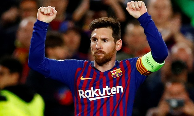 Soccer Football - Champions League - Round of 16 Second Leg - FC Barcelona v Olympique Lyonnais - Camp Nou, Barcelona, Spain - March 13, 2019 Barcelona's Lionel Messi celebrates scoring their third goal REUTERS/Juan Medina