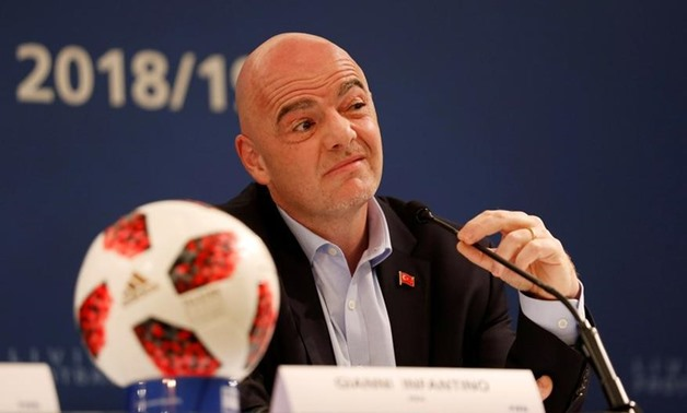 FILE PHOTO: Soccer Football - FIFA President Gianni Infantino Media Briefing - Shangri-La Bosphorus Hotel, Istanbul, Turkey - February 15, 2019 FIFA President Gianni Infantino during a media briefing REUTERS/Murad Sezer/File Photo