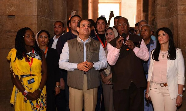 President Abdel Fatah al-Sisi paid a visit to the Philae Temple in Aswan on Monday morning as the Arab-African Youth Forum hosted in the Upper Egyptian city comes to an end - Press photo