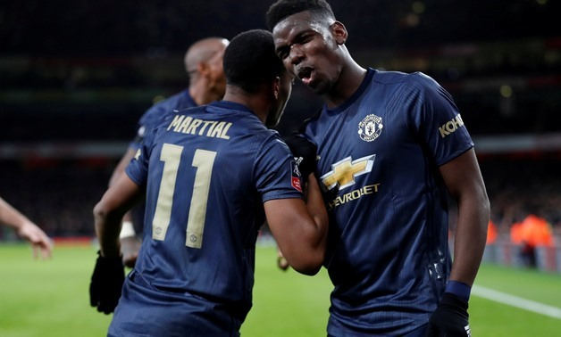 Soccer Football - FA Cup Fourth Round - Arsenal v Manchester United - Emirates Stadium, London, Britain - January 25, 2019 Manchester United's Anthony Martial celebrates scoring their third goal with Paul Pogba Action Images via Reuters/Matthew Childs TPX