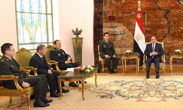 President Abdel Fatah al-Sisi meeting with Chinese Defense Minister Wei Fenghee, Monday - Press photo