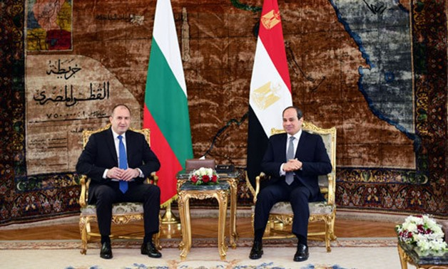 President Abdel Fatah al-Sisi holds talks with his Bulgarian counterpart Rumen Radev in Cairo on Tuesday - Press photo