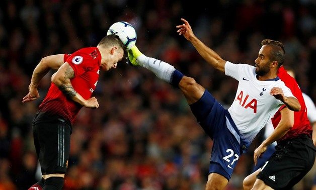 August 27, 2018 Tottenham's Lucas Moura in action with Manchester United's Phil Jones. Action Images via Reuters/Jason Cairnduff
