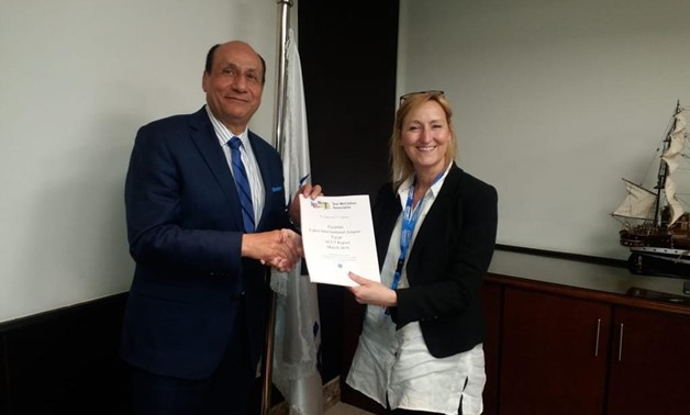 Chairman of EgyptAir Cargo Bassem Gohar receives ACC3 validation renewal from European official in Cairo, Egypt. March 27, 2019. Press Photo