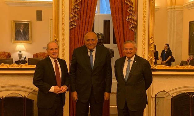 From left: Idaho Republican Senator James Risch, chair of the Senate Foreign Relations Committee, Egypt's Foreign Minister Sameh Shoukri, Senator Bob Menendez - Press photo