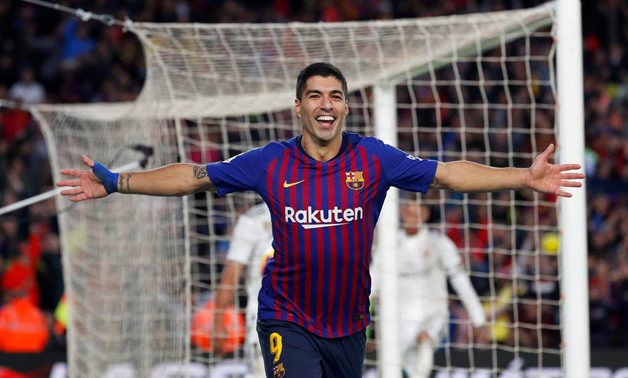 October 28, 2018 Barcelona's Luis Suarez celebrates scoring their fourth goal and completing his hat-trick REUTERS/Paul Hanna
