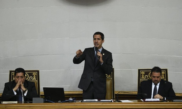 Federico Parra / AFP | Venezuelan opposition leader and self-proclaimed interim president Juan Guaido speaks during a National Assembly session in Caracas on April 2, 2019.