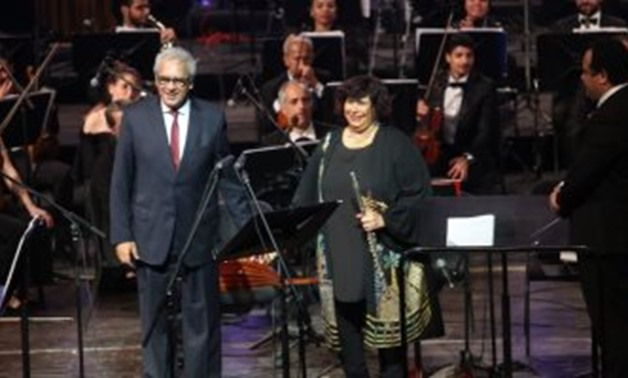 FILE - Ministers of Culture and Antiquities attended the concert
